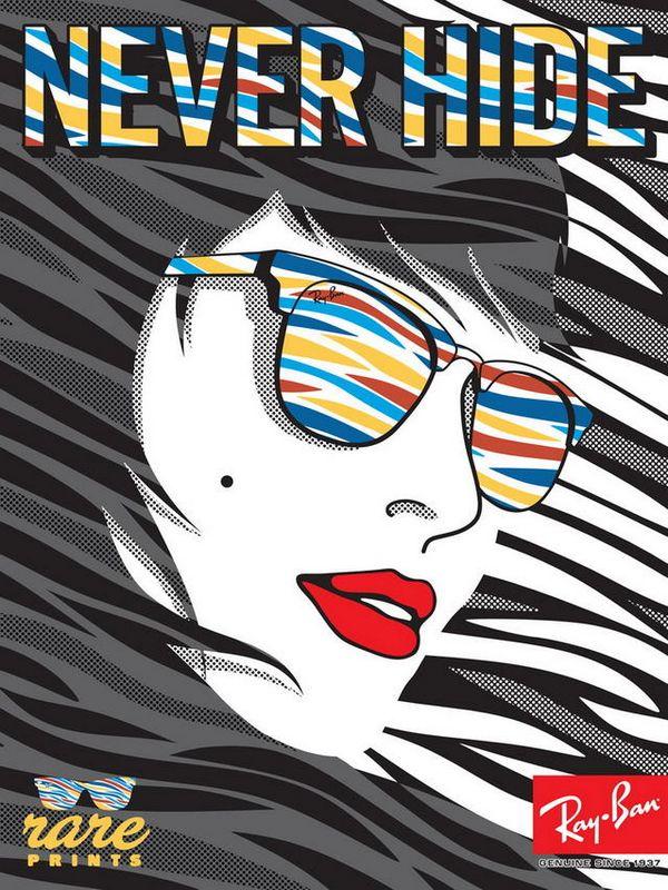 超级炫酷雷朋太阳镜Rare Prints系列海报设计 海报设计