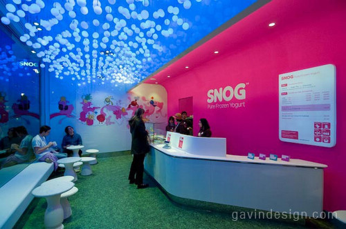Snog冷冻酸奶零售店面设计 时尚专卖店 形象店设计 店面设计