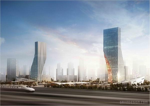 哈尔滨双子顶级地标综合体设计 综合体设计 办公楼设计 公寓设计 中国